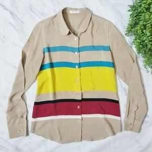 Equipment Sophie Beige Striped Peter Pan Silk Top